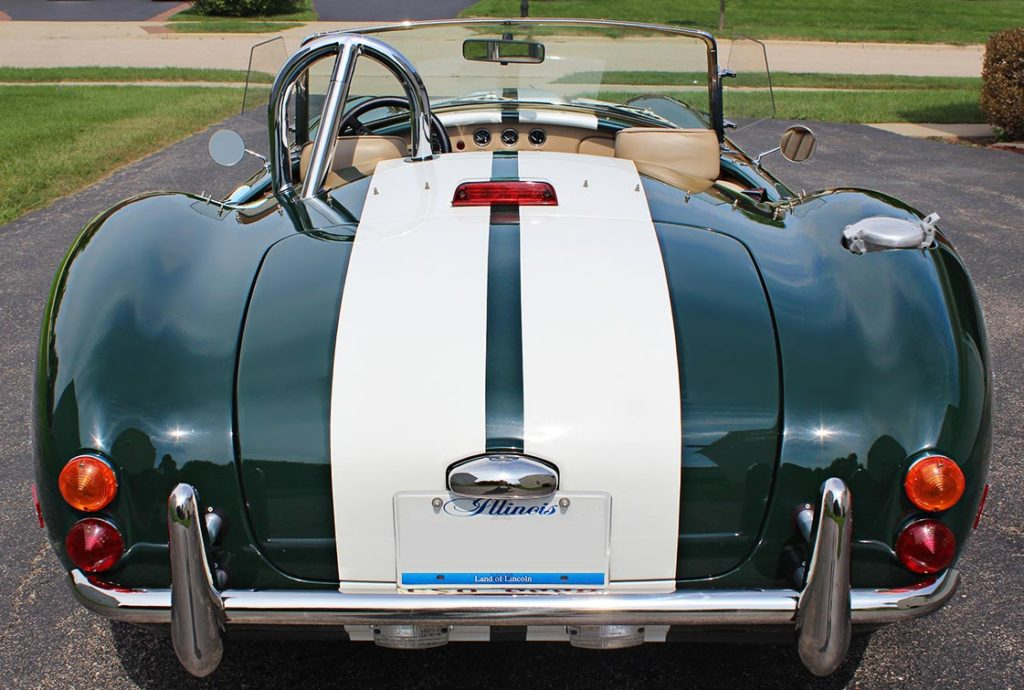 head-on rear shot#2 of BRG (British Racing Green) Excalibur 427SC Shelby classic Cobra for sale