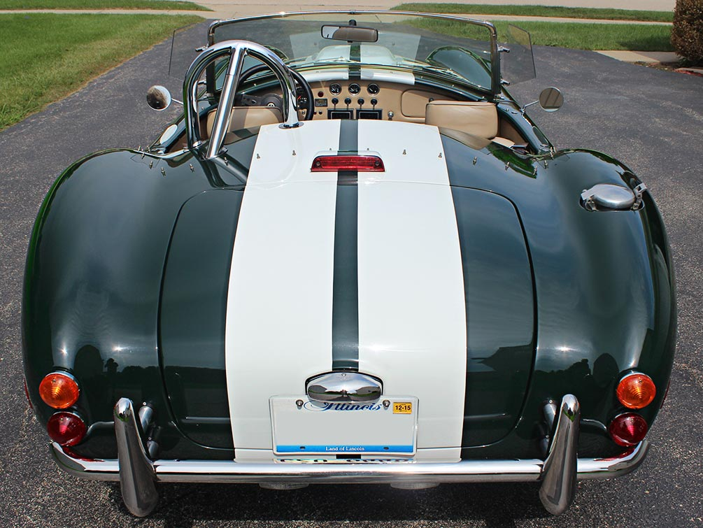 head-on rear shot#3 of BRG (British Racing Green) Excalibur 427SC Shelby classic Cobra for sale
