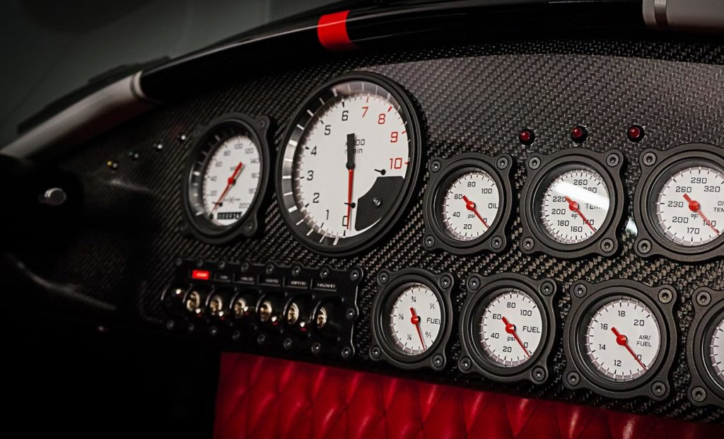 gauge array shot#C of Backdraft Racing replica Shelby classic 427SC Cobra vehicle for sale, BDR#1597
