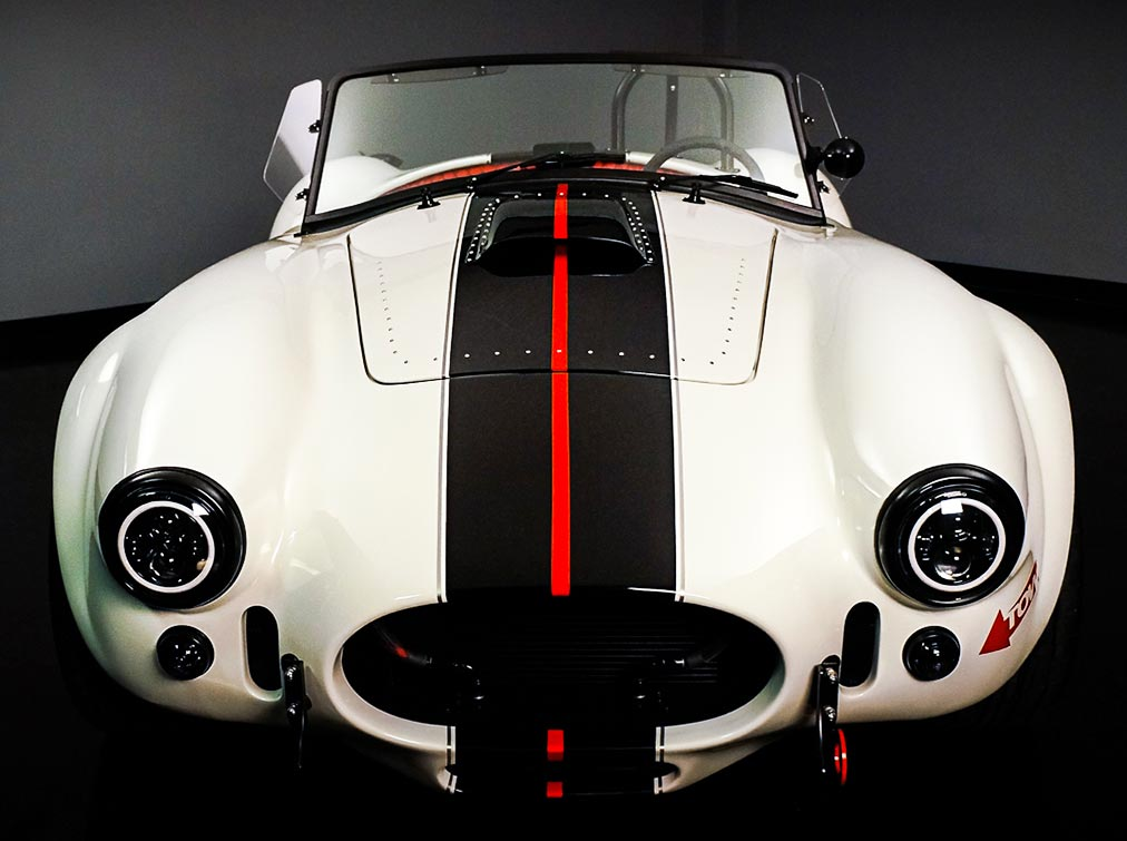 head-on frontal shot#A of Backdraft Racing replica Shelby classic 427SC Cobra vehicle for sale, BDR#1597