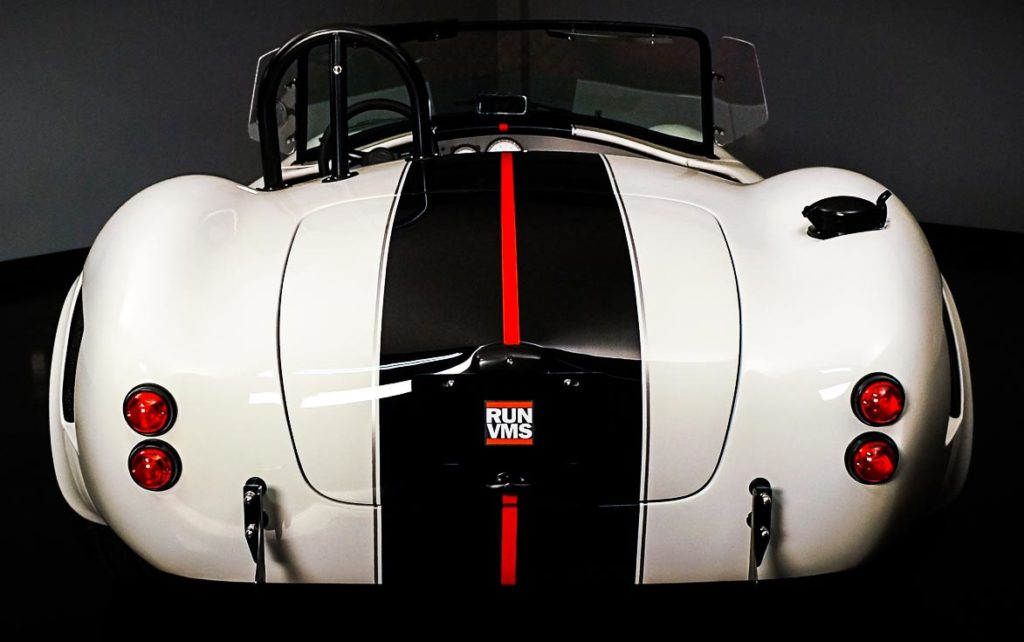 head-on rear shot of Backdraft Racing replica Shelby classic 427SC Cobra vehicle for sale, BDR#1597