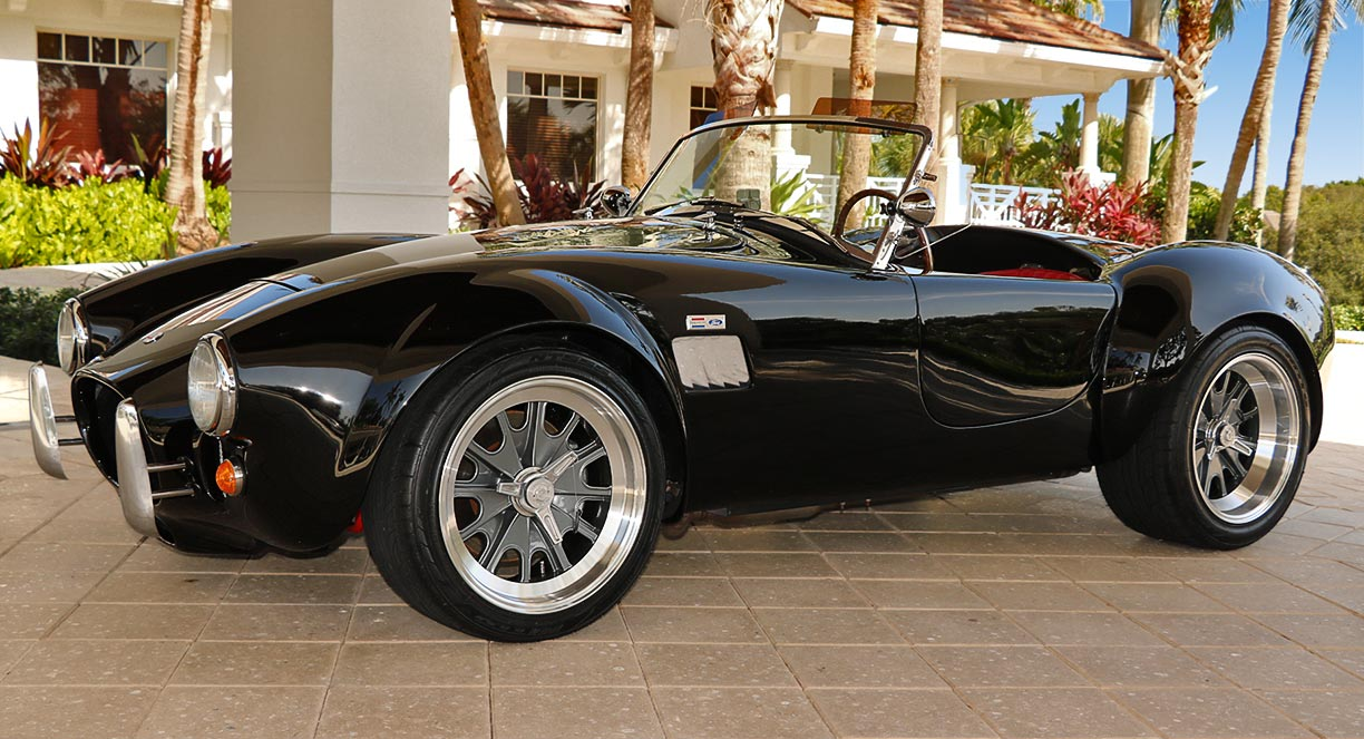 3/4-frontal shot (driver side) of Onyx Black 427SC Shelby classic Backdraft Racing 'Street Version' Cobra (BDR1709) for sale by owner