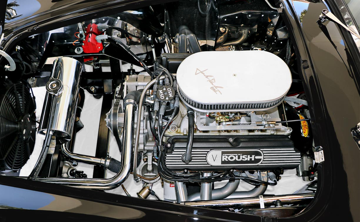 Roush engine photo (from driver side) of Onyx Black 427SC Shelby classic Backdraft Racing 'Street Version' Cobra (BDR1709) for sale by owner