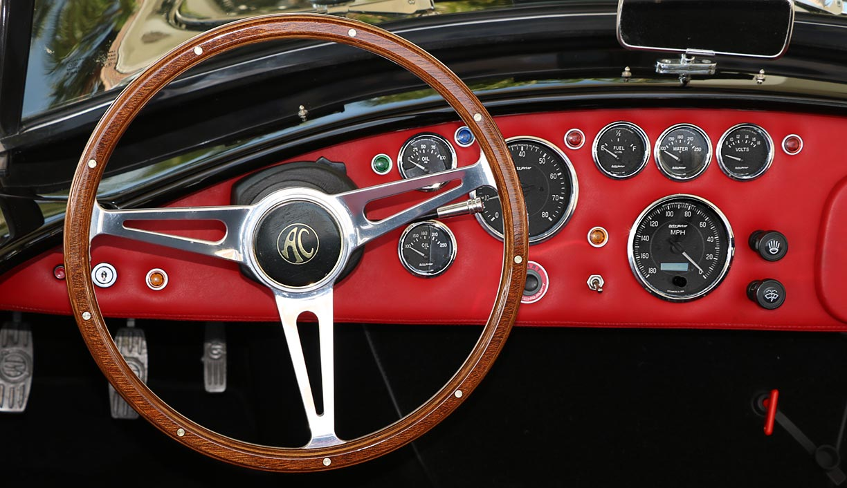 dashboard shot of Onyx Black 427SC Shelby classic Backdraft Racing 'Street Version' Cobra (BDR1709) for sale by owner