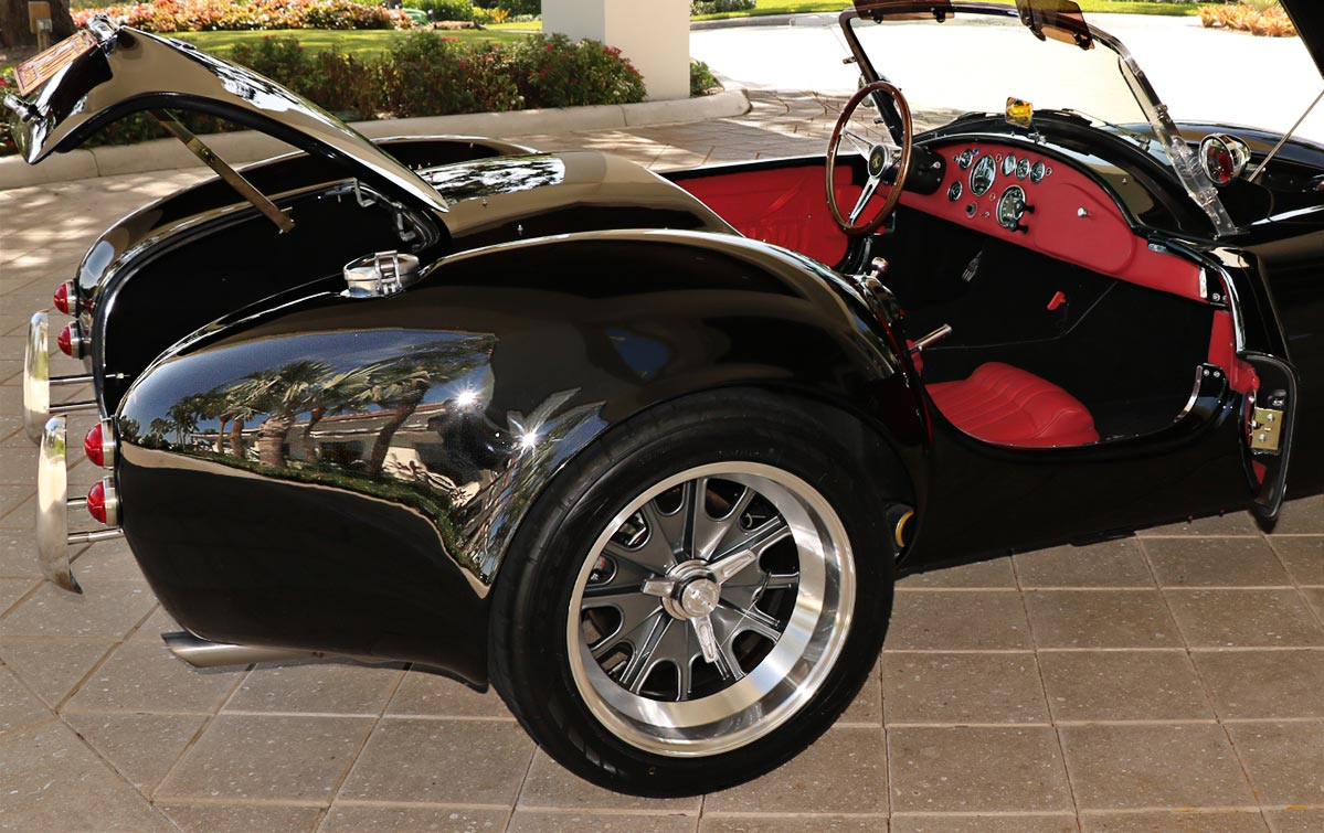 """""""all decks open shot#2"""" (from passenger side) of Onyx Black 427SC Shelby classic Backdraft Racing 'Street Version' Cobra (BDR1709) for sale by owner"""