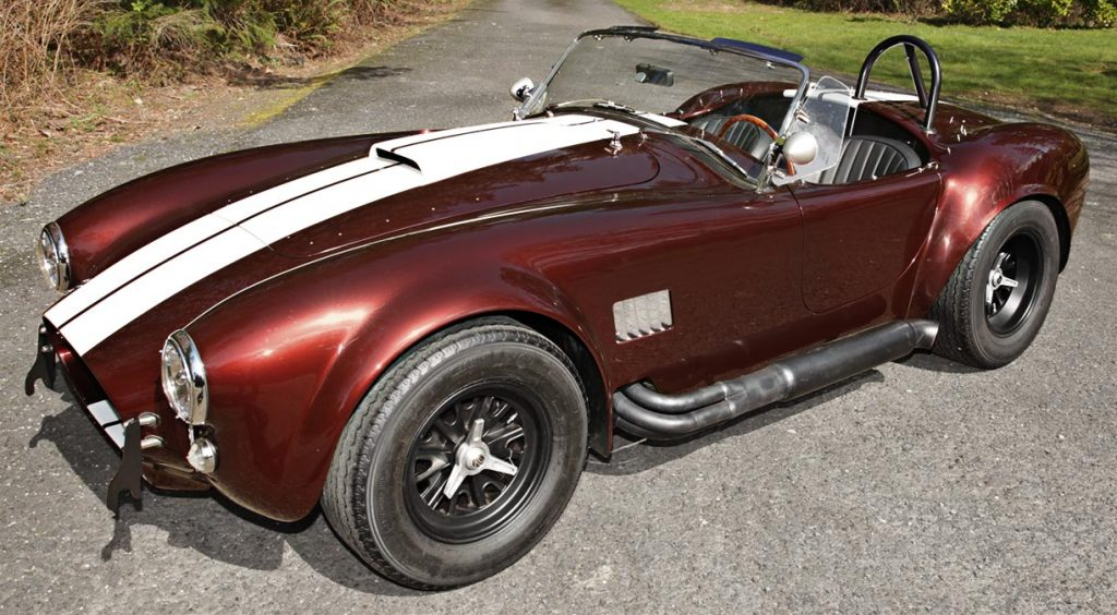 3/4-frontal view (driver side) of Chesnut Metallic Superformance 427SC Shelby classic Cobra for sale, SPO1886