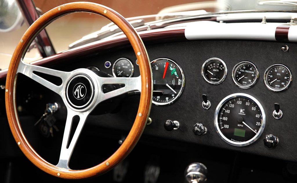 dashboard shot of Chesnut Metallic Superformance 427SC Shelby classic Cobra for sale, SPO1886