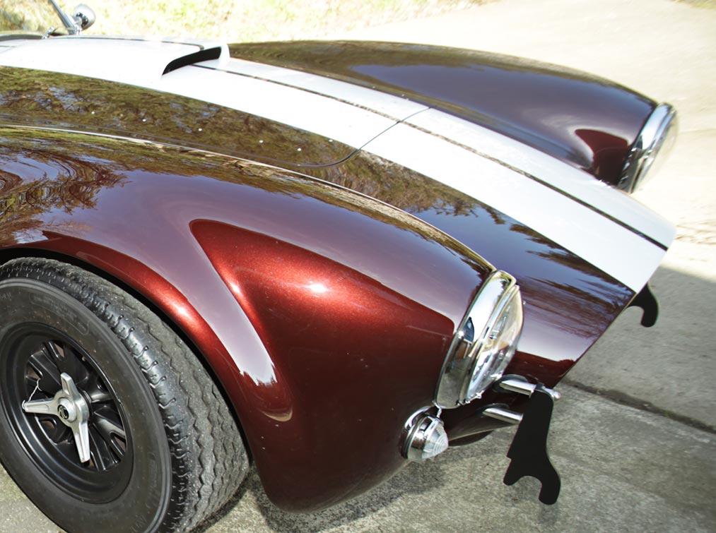 paint finish closeup shot#2 (on passenger-side front fender) of Chesnut Metallic Superformance 427SC Shelby classic Cobra for sale, SPO1886