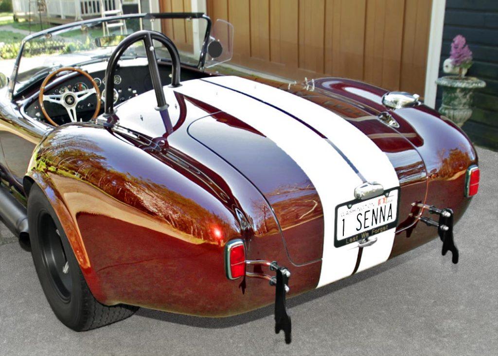 rear-quarterview (driver side) of Chesnut Metallic Superformance 427SC Shelby classic Cobra for sale, SPO1886