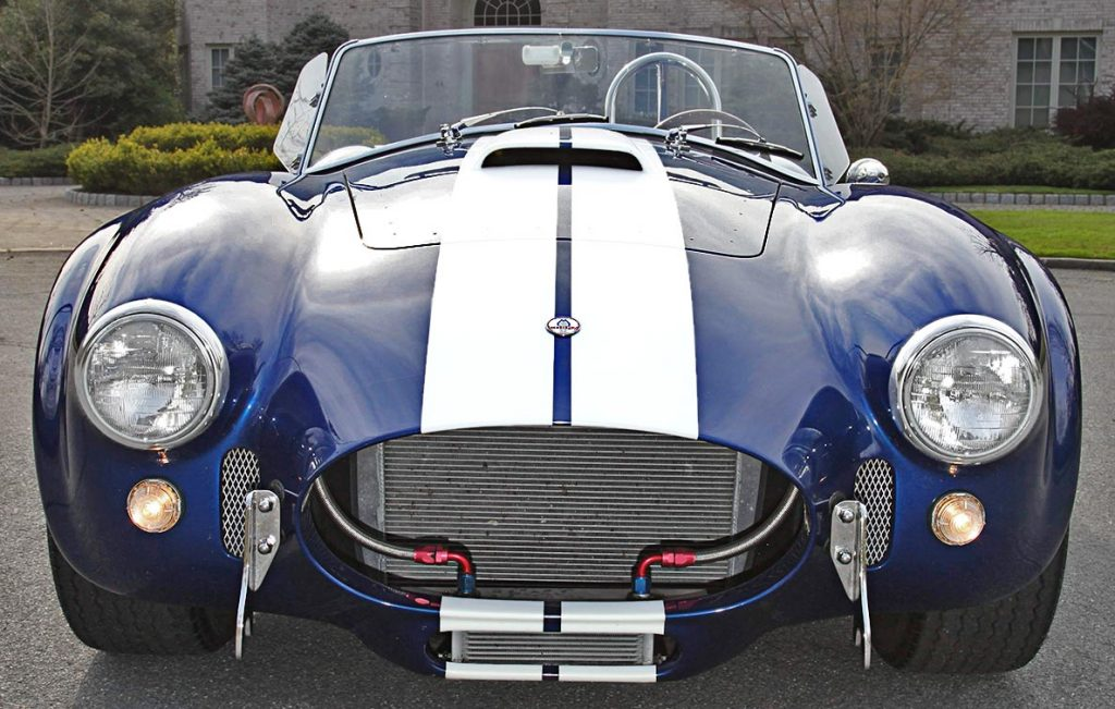head-on frontal shot of Royal Blue Superformance 427SC Shelby classic Cobra for sale, SPO2464