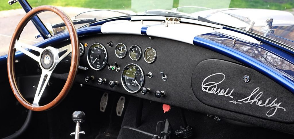 full dashboard shot (including Carroll Shelby's personal autograph) of Royal Blue Superformance 427SC Shelby classic Cobra for sale, SPO2464