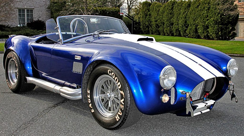 3/4-frontal view (passenger side) of Royal Blue Superformance 427SC Shelby classic Cobra for sale, SPO2464