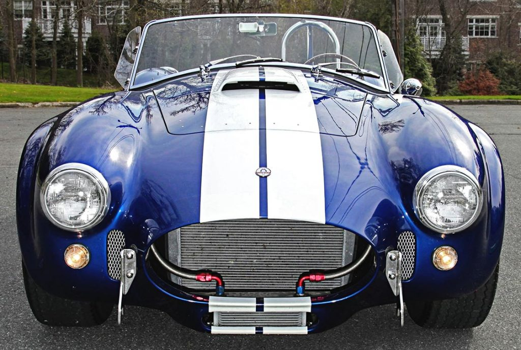 head-on frontal shot#2 of Royal Blue Superformance 427SC Shelby classic Cobra for sale, SPO2464