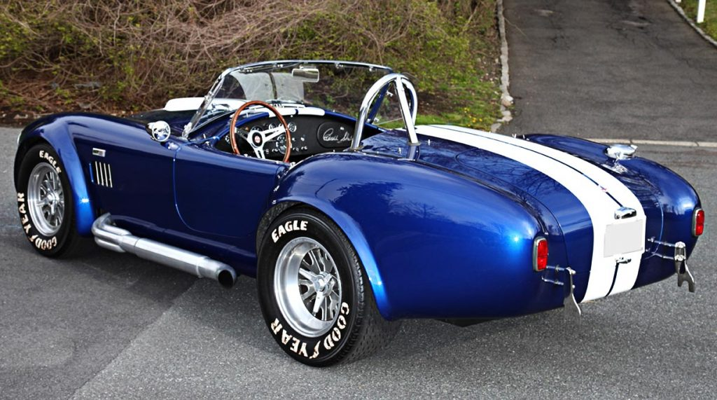 3/4-rear view (driver side) of Royal Blue Superformance 427SC Shelby classic Cobra for sale, SPO2464