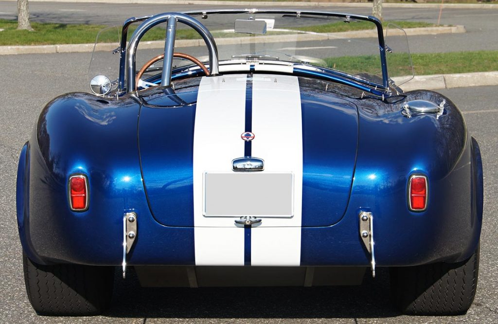 head-on rear view of Royal Blue Superformance 427SC Shelby classic Cobra for sale, SPO2464