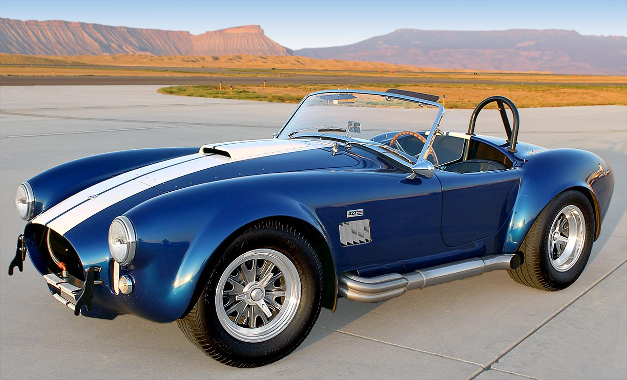3/4-frontal (driver side) shot of Royal Blue Metallic 427SC Shelby classic Superformance Cobra, SPO#0456 for sale by owner