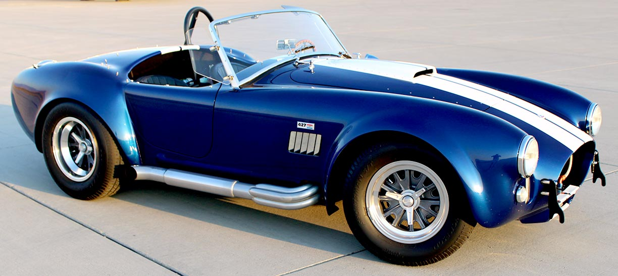 3/4-frontal (passenger side) shot of Royal Blue Metallic 427SC Shelby classic Superformance Cobra, SPO#0456 for sale by owner