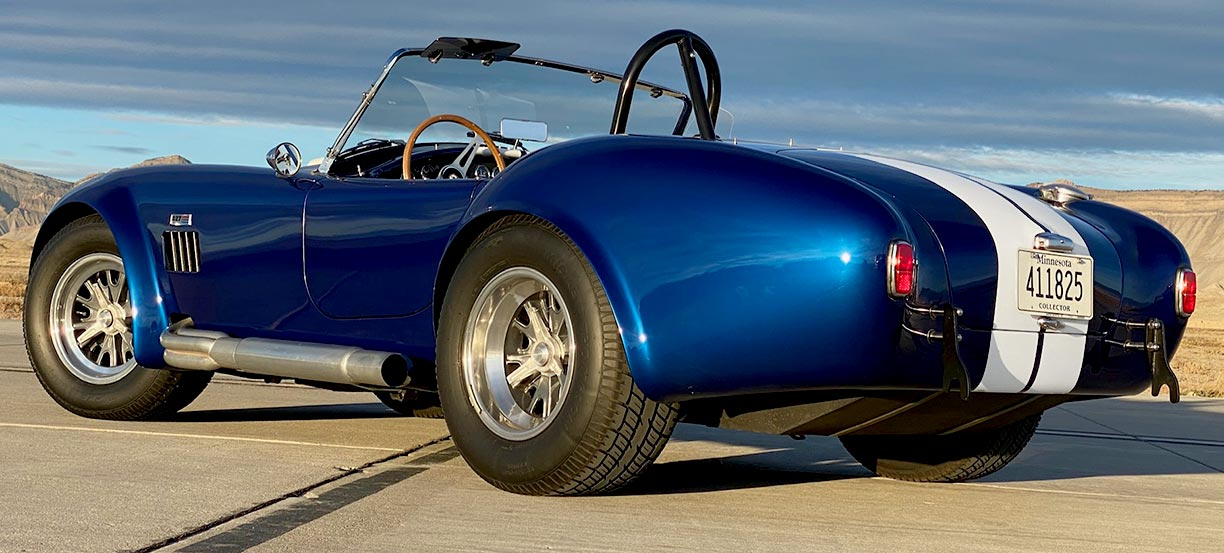 3/4-rear (driver side) shot of Royal Blue Metallic 427SC Shelby classic Superformance Cobra, SPO#0456 for sale by owner