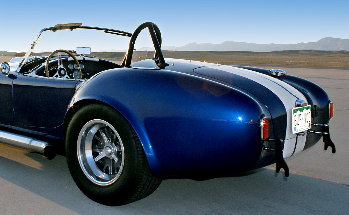 rear-quarter shot#2 (driver side) of Midnight Blue 427SC Shelby classic E.R.A. Cobra for sale by owner