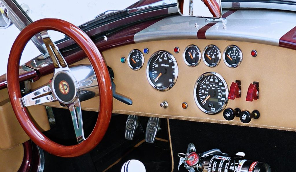 dashboard shot of Prism Red Backdraft Racing 427SC Shelby classic Cobra for sale, BDR625