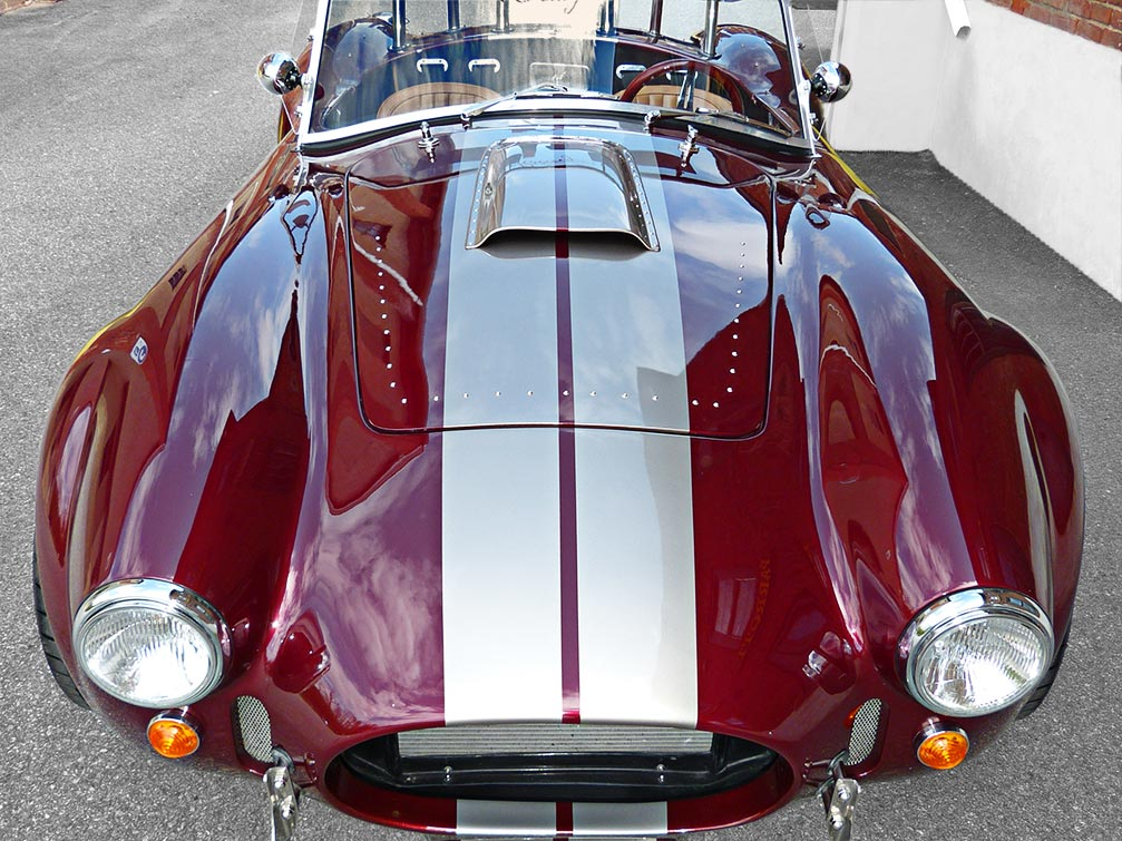 head-on frontal shot#2 of Prism Red Backdraft Racing 427SC Shelby classic Cobra for sale, BDR625