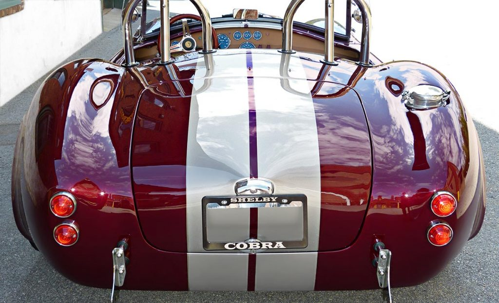 head-on rear shot of Prism Red Backdraft Racing 427SC Shelby classic Cobra for sale, BDR625