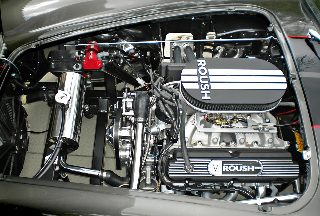 Roush 427R engine shot#1 (from driver side) of Royal Grey Backdraft Racing 427SC Shelby classic Cobra for sale, BDR1357