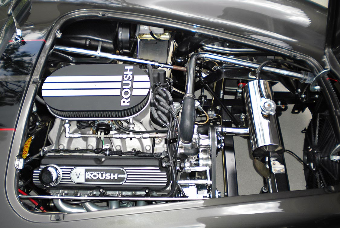 Roush 427R engine shot#2 (from passenger side) of Royal Grey Backdraft Racing 427SC Shelby classic Cobra for sale, BDR1357
