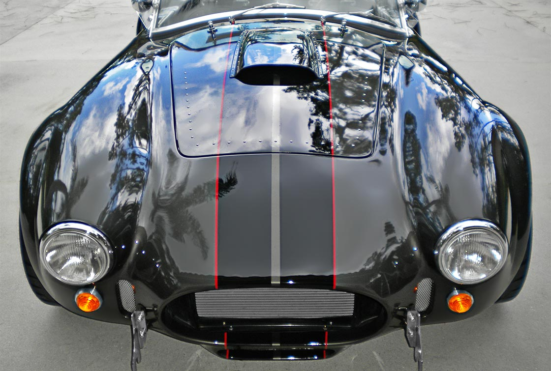 head-on frontal shot of Royal Grey Backdraft Racing 427SC Shelby classic Cobra for sale, BDR1357