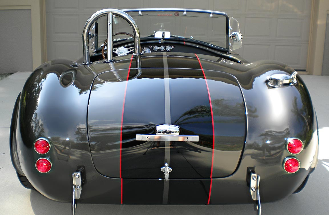 head-on rear shot#2 of Royal Grey Backdraft Racing 427SC Shelby classic Cobra for sale, BDR1357