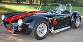 3/4-frontal thumbnail image of black/red stripes 427SC Shell Valley classic Cobra for sale by owner