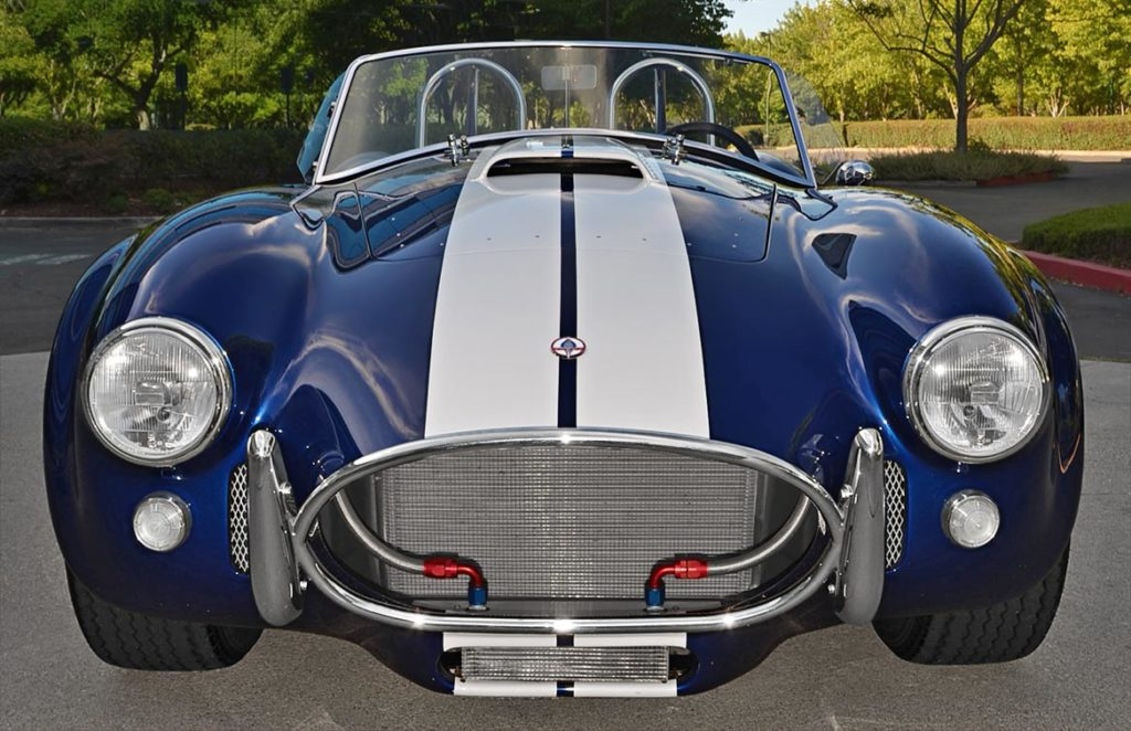 head-on frontal shot of Royal Blue Superformance 427SC Cobra for sale by owner, SPO1657