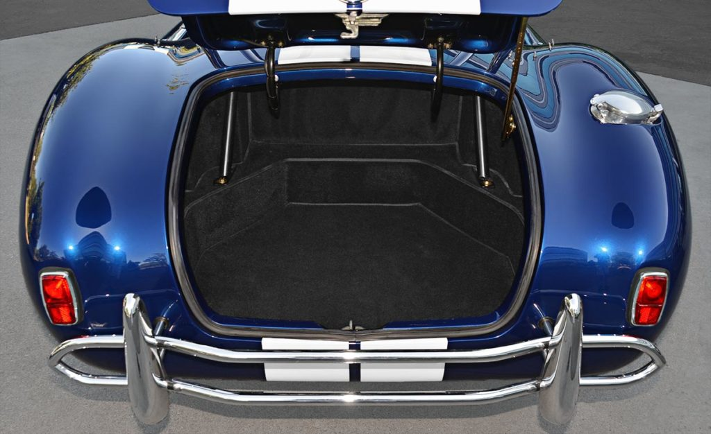 luggage compartment shot of Royal Blue Superformance 427SC Cobra for sale by owner, SPO1657