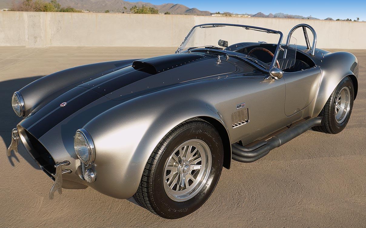 3/4-frontal shot of silver/black stripes Superformance 427SC Shelby classic Cobra for sale, SPO2929