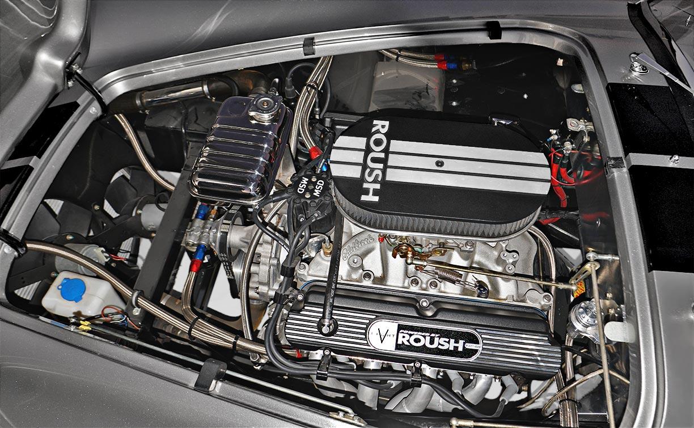 Roush 427SR engine photo of silver/black stripes Superformance 427SC Shelby classic Cobra for sale, SPO2929