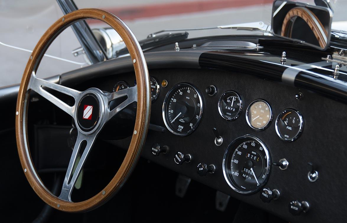 dashboard shot#1 of silver/black stripes Superformance 427SC Shelby classic Cobra for sale, SPO2929