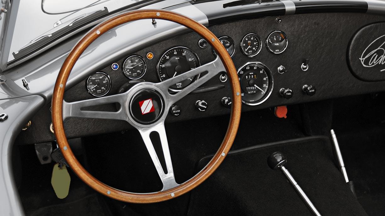 dashboard shot#2 of silver/black stripes Superformance 427SC Shelby classic Cobra for sale, SPO2929
