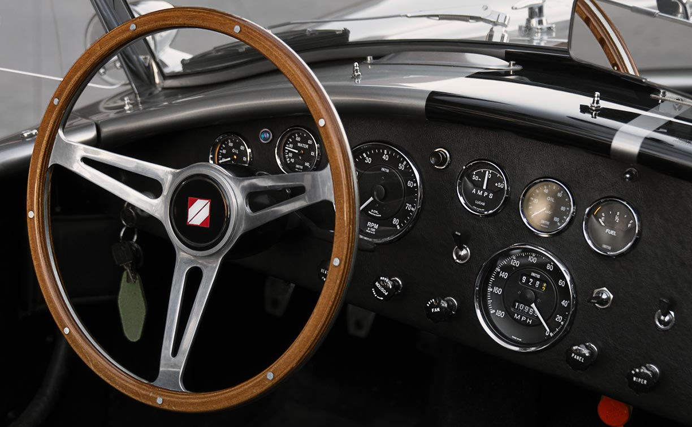 dashboard shot#3 of silver/black stripes Superformance 427SC Shelby classic Cobra for sale, SPO2929