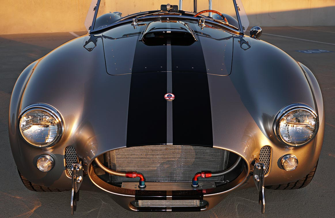 """head-on frontal """"Golden Hour"""" shot#1 of silver/black stripes Superformance 427SC Shelby classic Cobra for sale, SPO2929"""