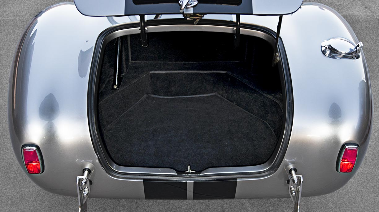 luggage compartment of silver/black stripes Superformance 427SC Shelby classic Cobra for sale, SPO2929