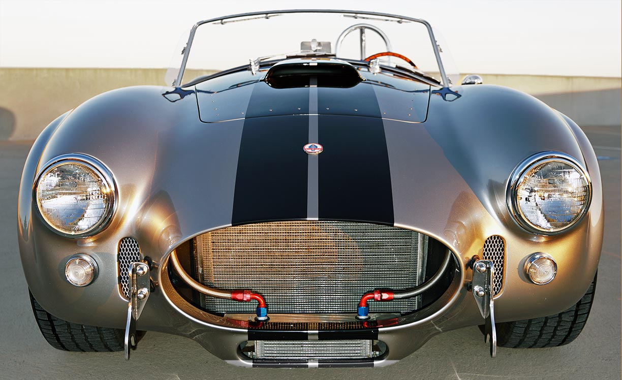 """head-on frontal """"Golden Hour"""" shot#2 of silver/black stripes Superformance 427SC Shelby classic Cobra for sale, SPO2929"""