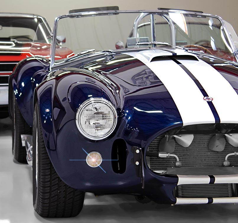 classic Shelby Cobra Vehicles for Sale: front-quarter (passenger side) photo of 35th Anniversary Blue Shelby 427SC Cobra for sale, CSX4059