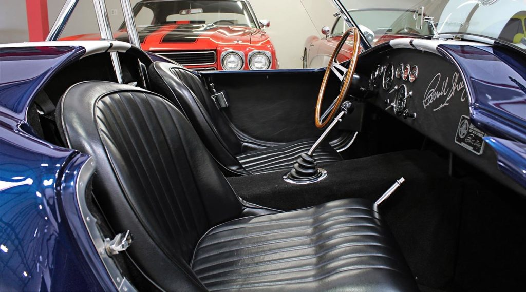 photo of cockpit (from passenger side) of 35th Anniversary Blue Shelby 427SC Cobra for sale, CSX4059
