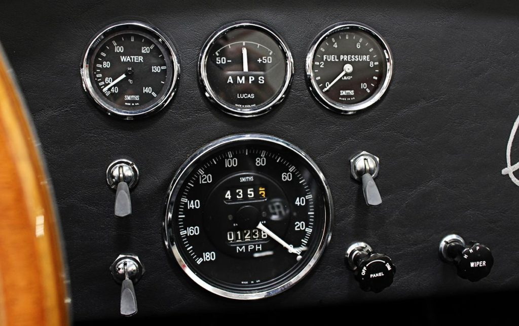 photo of blackfaced Smiths gauges of 35th Anniversary Blue Shelby 427SC Cobra for sale, CSX4059