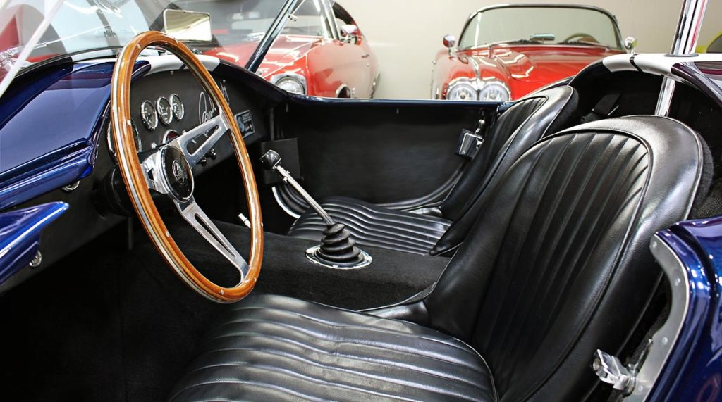 photo of cockpit (from driver side) of 35th Anniversary Blue Shelby 427SC Cobra for sale, CSX4059