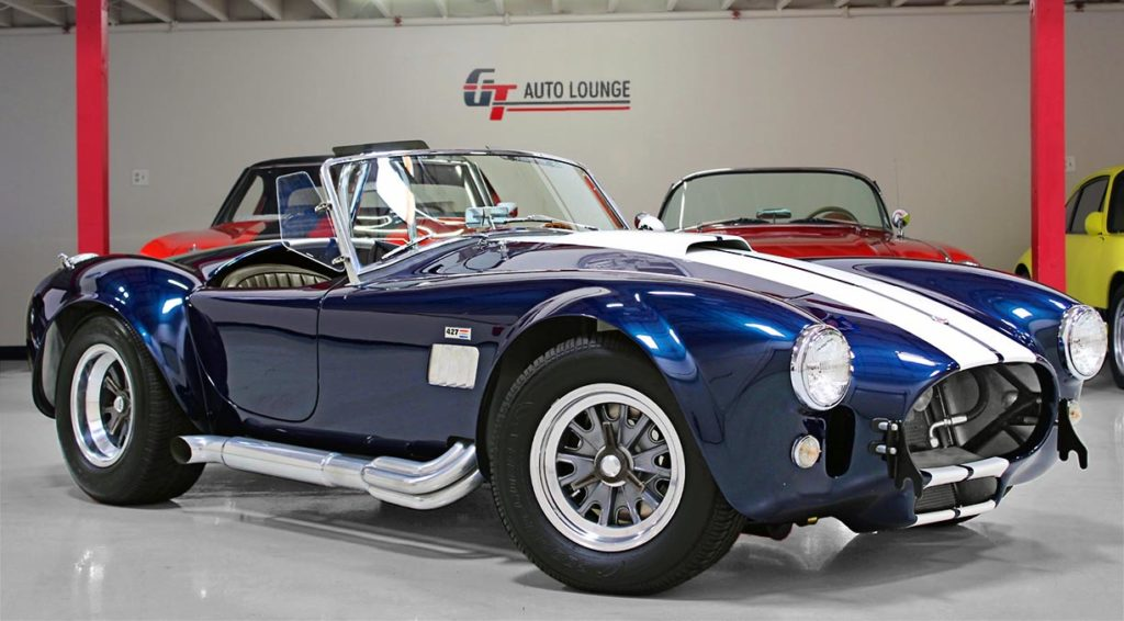 3/4-frontal shot (passenger side) of 35th Anniversary Blue Shelby 427SC Cobra for sale, CSX4059
