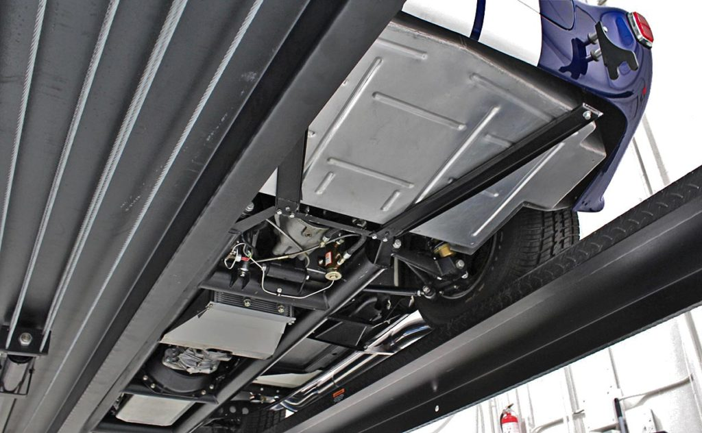 view of clean undercarriage of 35th Anniversary Blue Shelby 427SC Cobra for sale, CSX4059