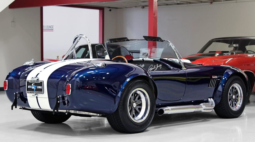 3/4-rear shot (driver side) of 35th Anniversary Blue Shelby 427SC Cobra for sale, CSX4059