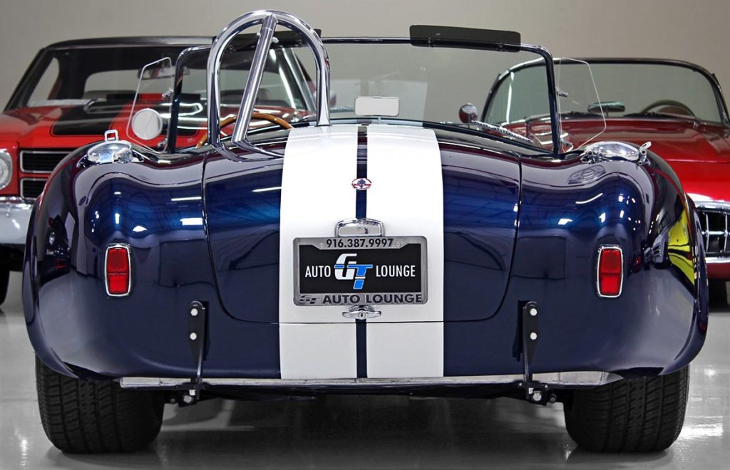 head-on rear view of 35th Anniversary Blue Shelby 427SC Cobra for sale, CSX4059