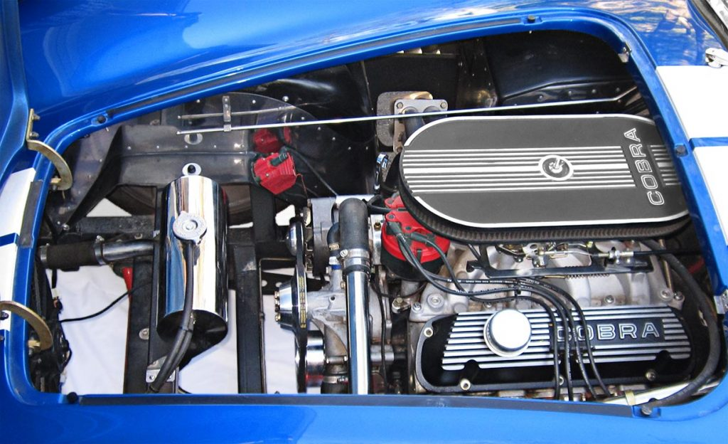 engine photo of Speedway Blue Backdraft Racing 427SC Shelby classic Cobra for sale, BDR757